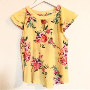 🛍 Yellow Floral Flutter Short Sleeve Top